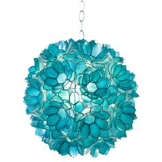 Turquoise Capiz shell lotus pendant.  UL approved for single 60 watt bulb. Comes with 3' chain and canopy.