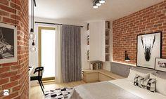 Średnia sypialnia małżeńska z balkonem / tarasem, styl skandynawski - zdjęcie od Grafika i Projekt architektura wnętrz