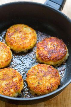 Cheesy mashed potato pancakes recipe - best way to use up leftover mashed potatoes! @natashaskitchen