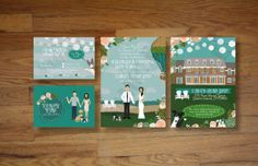 custom illustrated wedding invitations