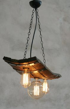 aae898fd28a Rustic ceiling lights. Wine barrel with 3 lights