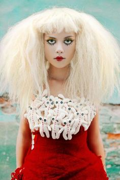 """A s promised last week [see: Fashion Photography: Android Chic] , I've compiled a group of shots using the """" Living Doll/ Broken Doll """" fash. Ellen Von Unwerth, Quirky Fashion, Fashion Tag, Crazy Fashion, Doll Costume, Costume Makeup, Samba Costume, Doll Face Makeup, Helloween Party"""