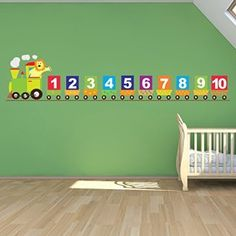 Avalisa Stretched Canvas Nursery Wall Art, Hot Air Balloon, Green Hue, 18 Number Train Wall Sticker Lion Wall Decal Baby Nursery Home Decor available in 8 Sizes Gigantic Digital Nursery Wall Stickers, Wall Decal Sticker, Nursery Wall Art, Girl Nursery, Kids Room Wall Art, Home Wall Art, Train Nursery, Preschool Classroom Decor, Material Didático