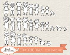 BUY 2 GET 1 FREE 38 Stick Figure Family clipart - stick figure clip art - Personal and Commercial Use Stick Figure Animation, Stick Figure Drawing, Stick Figure Family, Stick Family, Doodle Drawings, Doodle Art, Silhouette Portrait, Silhouette Cameo, Button Family