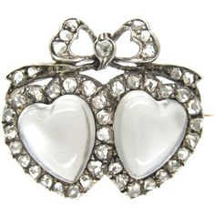 Pre-owned Edwardian Double Heart Moonstone Diamond Silver Gold Brooch ($3,440) ❤ liked on Polyvore featuring jewelry, brooches, antique brooches, rose brooch, antique gold jewellery, rose gold brooch and diamond jewellery