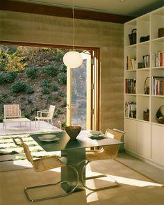 Layout of room. Bookshelves. Outdoor Access. Light fixture. Materials. Aidlin Darling Design