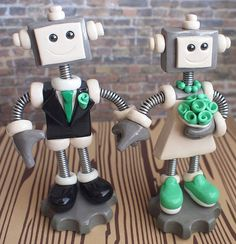 Commission: Robot Wedding Cake Topper: holding hands and slip on sneakers by HerArtSheLoves, via Flickr