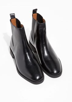 & Other Stories image 2 of Chelsea Leather Boots in Black Leather