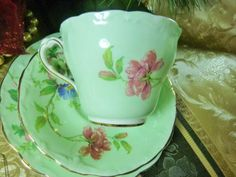 PARAGON TEA CUP AND SAUCER TRIO PALE GREEN PINK ROSE & FLORAL GOLD TRIM c1939