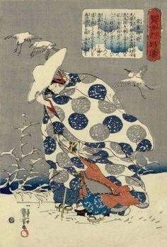 Kuniyoshi--Tokiwa-gozen fleeing with her children through the snow