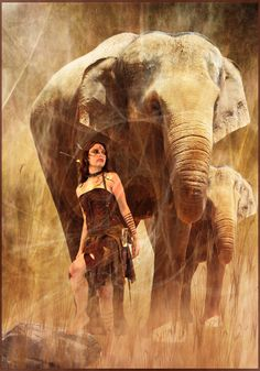 Jungle girl and an elephant ( Protected by violscraper )