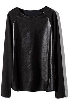 ROMWE   PU Panel Loose Black T-shirt, The Latest Street Fashion $41