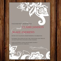 Floral Lace Wedding Invitation (Taupe)