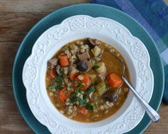 Beef Barley Soup with Mushrooms ♥ KitchenParade.com, hearty, healthy, satisfying.