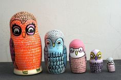 Original one of a kind hand-painted matryoshka wooden stacking doll. 4 owls and 1 freaked out mousey mouse (awwwww! in the belly of the predator). This item is not intended to use as a toy, decorative art only.    Painted on wood using acrylic and ink. Size ranging from 1.5 to 6. ♥Please note colors may not be exactly as they appear on monitor♥    ♥♥I do ship internationally if you dont see your country listed please contact me for shipping quote♥♥    ♥♥♥More matryoshka dolls coming soon…