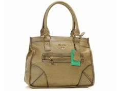 Prada Leather Tote Bag 9035 Khaki Wallet