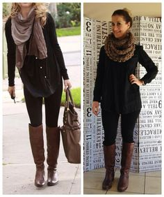 Inspired by her look! Black long shirt: Woollies, tights: Forever New, Boots: Studio W and brown snood: citymob.co.za for very cheap! So yes, black and brown indeed a winner.