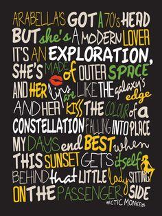 Arctic Monkeys Arabella / Song Lyric Typography by LawandMoore