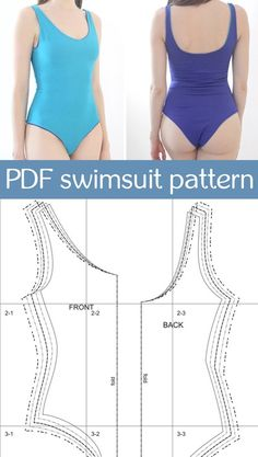 PDF sewing pattern one piece swimsuit for women digital pdf swimwear pattern One Piece Swimsuit For Teens, One Piece Swimsuit Flattering, One Piece Swimsuit Slimming, Swimsuits For Teens, Women Swimsuits, Sewing Clothes Women, Diy Clothes, Pdf Sewing Patterns, Clothing Patterns
