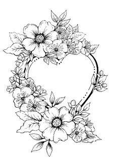 Cheap Stamps, Buy Directly from China Suppliers:Single heart wreath Transparent Clear Silicone Stamp/Seal for DIY scrapb Free Adult Coloring, Printable Adult Coloring Pages, Flower Coloring Pages, Coloring Book Pages, Wreath Drawing, Flower Sketches, Floral Drawing, Heart Wreath, Adult Coloring Pages