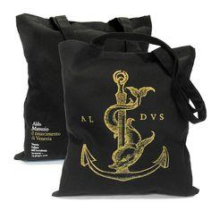 Custom shopping bags created for Aldo Manuzio art #exhibition More: http://blog.sadesign.it/aldo-manuzio-gadget/