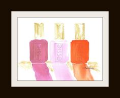 Wall Art | Essie nail polish watercolor print - 40% off sale going on now.