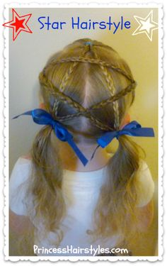 Star Hairstyle Video Tutorial, Cute 4th Of July Hairstyle