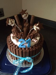 Tom's 21st birthday chocolate explosion cake :) More