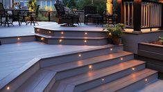 Deck Step Lights, Outdoor Deck Decorating, Patio Deck Designs, Deck Steps, Deck Pictures, Diy Deck, Deck Railings, Porch Lighting, Lighting Ideas