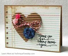 Tarjeta del corazón de Gracias
