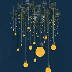 city lights: buildings --> edison bulbs