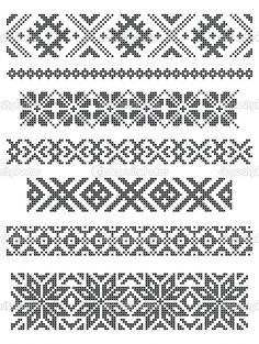 Stock Vector Set Of Borders, Embroidery Cross, Vector Royalty Free Cliparts, Vectors, And Stock Illustration. Diy Embroidery Shirt, Border Embroidery, Bead Embroidery Jewelry, Embroidery Patterns, Hand Embroidery, Fair Isle Knitting Patterns, Knitting Charts, Loom Patterns, Beading Patterns