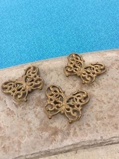Vintage Gold Ornate set of three Butterflies, Burwood Co., Hollywood Regency Decor, Wedding Decor, Nursery Decor, Glam by YellowHouseDecor on Etsy https://www.etsy.com/listing/249035490/vintage-gold-ornate-set-of-three