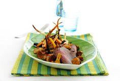 Ølmarineret roastbeef med svampe og rodfrugter