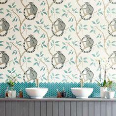 Ringtailed Lemur by Sanderson - Stone / Eucalyptus - Wallpaper : Wallpaper Direct Denim Wallpaper, Print Wallpaper, Fabric Wallpaper, Wallpaper Roll, Kids Wallpaper, Animal Wallpaper, Pierre Frey, Farrow Ball, Paradise Wallpaper