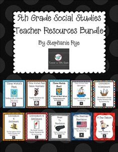 Use these resources as you teach all the units for 5th grade Social Studies.  Included in each set are vocabulary flashcards with the word and picture on the front and the definition on the back, vocabulary quizzes, vocabulary quizzes with pictures (helpful with inclusion students), Swat the Vocab review games, Vocabulary Bingo, unit review games, worksheets, and more!Contact me at ryesteph@aol.com for information on how to get free lesson plans and student packets for the entire year!Buy as…