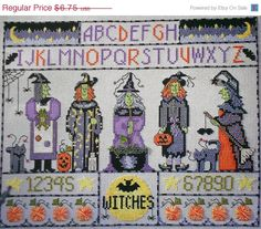 CLEARANCE Wendy Mosbacher WITCHES SPELL Sampler Halloween - Counted Cross Stitch Pattern Chart - fam