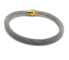 "Silver Mesh Yellow Gold Plated magnetic Twisted Cable bangle Surgical Hypoallergenic Stainless Steel Mesh Bracelet Magnetic 8"" Unisex Gift"