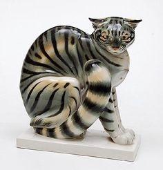 Porcelain sculpture of sitting cat with polychrome decoration design Arthur Storch ca.1925 executed by Schwarzburger Werkstätten für Porzellankunst / Germany