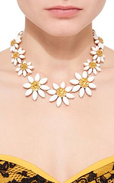 Crystal and Glass Edelweiss Necklace by Dolce &   Moda Operandi