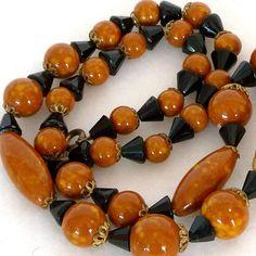 Vintage 1920s Necklace Art Deco Ceramic Glass Beads by Revvie1, $28.00