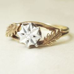 Vintage Diamond Leaves Engagement Ring, 9k Gold Diamond Solitaire Wedding Ring Size Approx. US 6