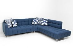 Curved Monaco Sectional in Navy Linen with Biscuit Tufting | ModShop