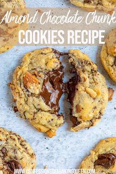 Chewy and thick chocolate chunk cookies are filled with loads of roasted almond slices and almond extract. Step-by-step photos help you bake these cookies with success! An elevated version of a chocolate chip cookie! Chocolate Marshmallow Cookies, Chocolate Chip Shortbread Cookies, Toffee Cookies, Spice Cookies, Almond Cookies, Yummy Cookies, Salted Caramel Mocha, Butterscotch Chips, Best Cookie Recipes