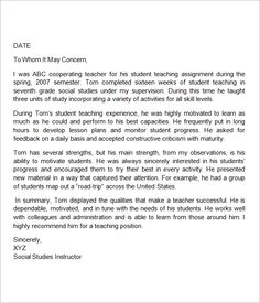 This Is A Letter Of Recommendation For A Teacher Intern