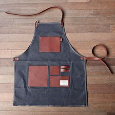 Sewing Clothes For Men TRVR Gentlemans Apron Charcoal Waxed Canvas, Genuine Leather, Useful Clothes Words, Barber Apron, Work Aprons, Corporate Wear, Leather Apron, Apron Designs, Apron Pockets, Leather Projects, Waxed Canvas