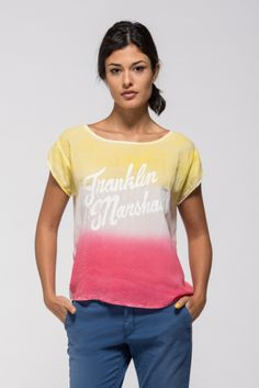 Viscose T-shirt with a dip-dyed effect.