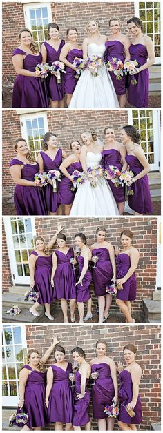 Purple Bridesmaid Dresses Bridesmaid Movie Pose Kathleen Hertel Photography www.kathleenhertel.com