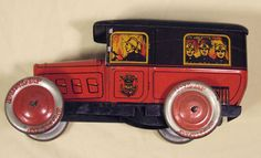 french fire brigade service car sweet biscuit tin 1938