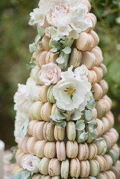 Macaron Cake Tower Pastels & Flowers